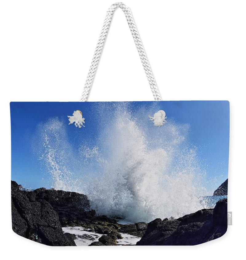 Lava Rock Weekender Tote Bag featuring the photograph Makapu'u Lava Rock Splash by Richard Cheski