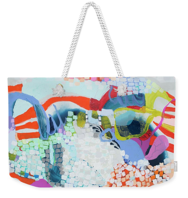 Abstract Weekender Tote Bag featuring the painting Make Some Noise by Claire Desjardins