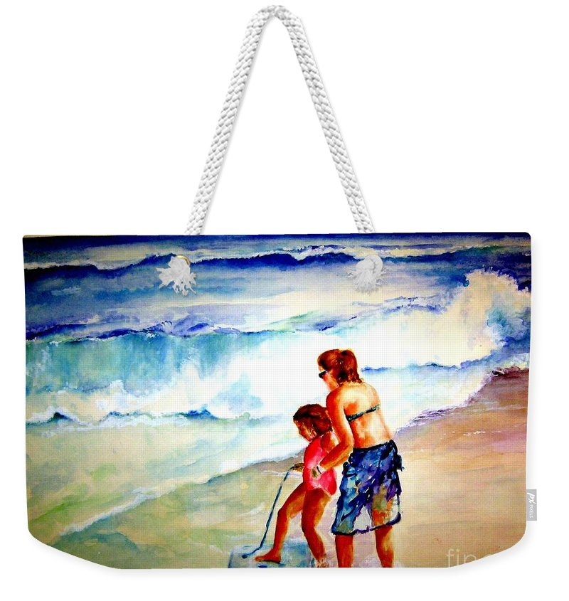Beach Surf Weekender Tote Bag featuring the painting Making A Memory by Sandy Ryan