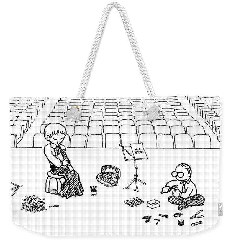 Oboe Weekender Tote Bag featuring the drawing Making Oboe Reeds On The Stage by Minami Daminami