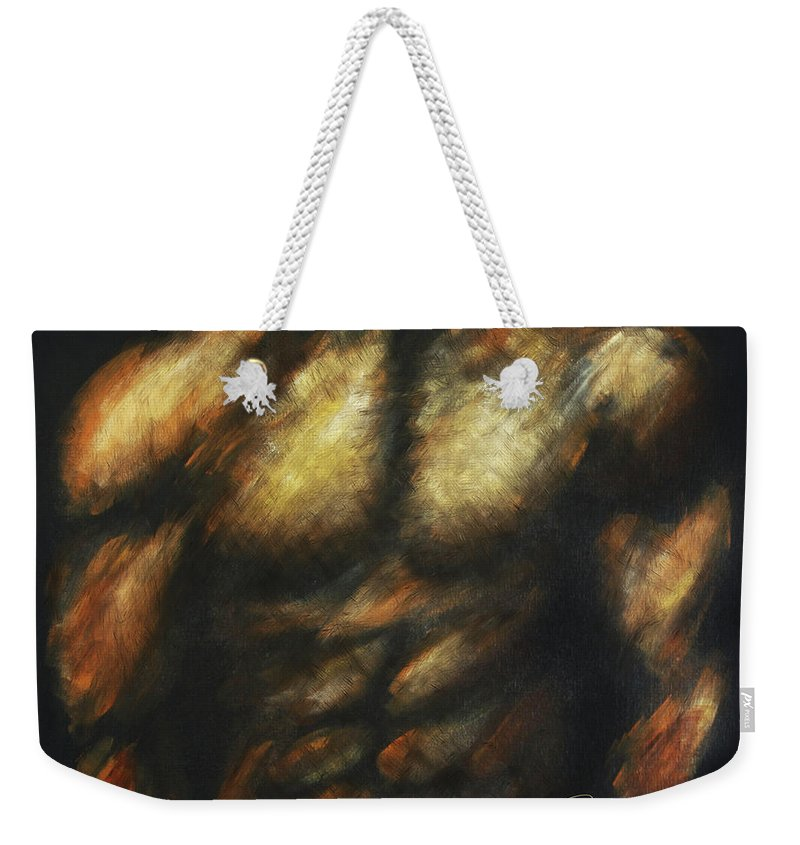 Male Figure Weekender Tote Bag featuring the painting Male Bodybuilder by Dani Abbott