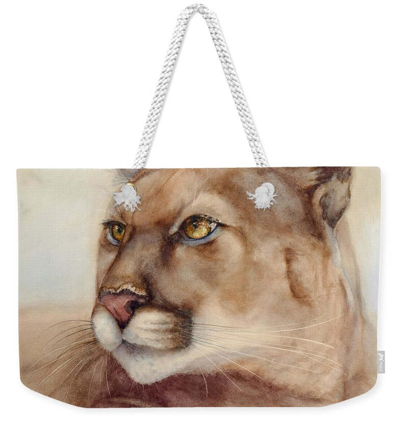 Cougar Weekender Tote Bag featuring the painting Male Cougar by Bonnie Rinier