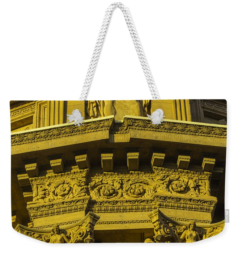 Palace Of Fine Arts Weekender Tote Bag featuring the photograph Male Statue Palace Of Fine Arts by Garry Gay