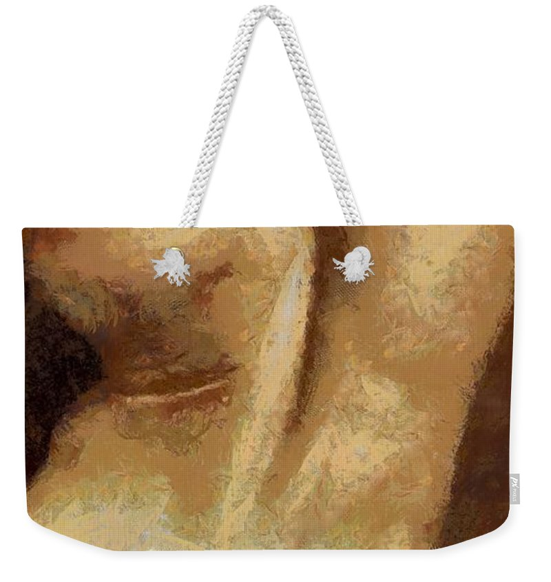 Nude Weekender Tote Bag featuring the painting Male Torso by Dragica Micki Fortuna