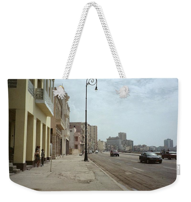 Quin Sweetman Weekender Tote Bag featuring the photograph Malecon En Havana by Quin Sweetman