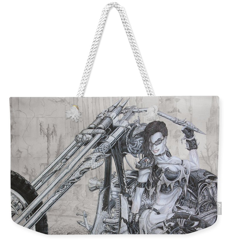 Bike Weekender Tote Bag featuring the drawing Malice by Kristopher VonKaufman