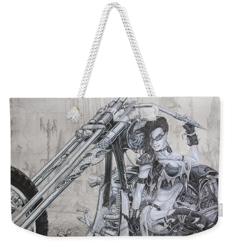 #bike Weekender Tote Bag featuring the drawing Malice by Kristopher VonKaufman
