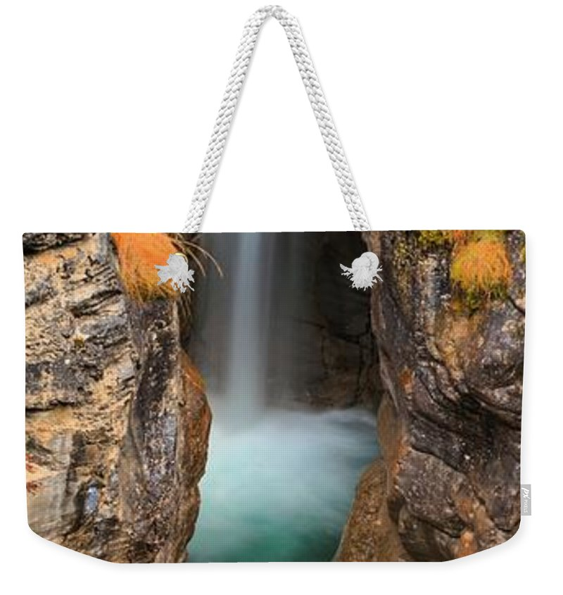 Maligne Canyon Weekender Tote Bag featuring the photograph Maligne Canyon Vertical Panorama by Adam Jewell