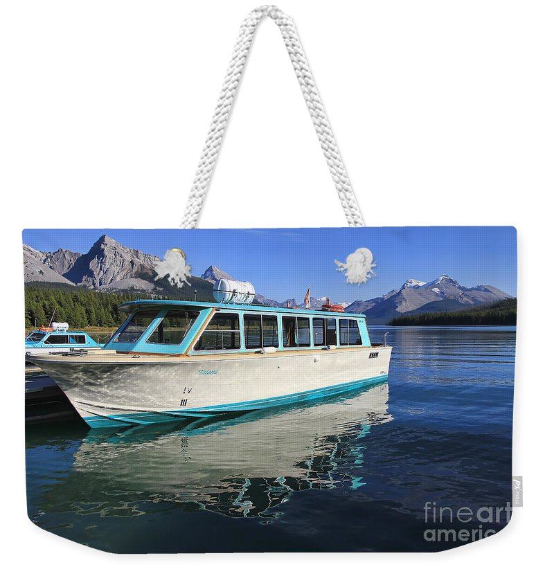 Boat Weekender Tote Bag featuring the photograph Maligne Lake Tour Boat Reflection by Teresa Zieba