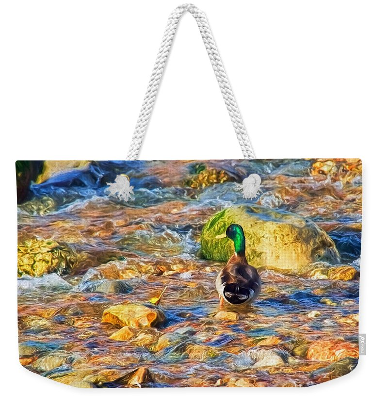Duck Weekender Tote Bag featuring the photograph Mallard At The River - Impressions by Susie Peek