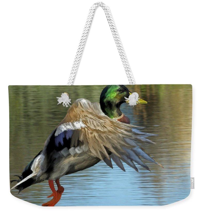 Animals Weekender Tote Bag featuring the painting Mallard Digital Freehand Painting 3 by Ernie Echols