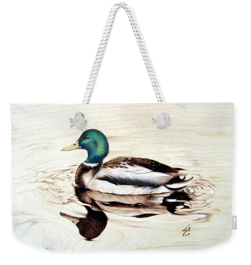 Pyrography Weekender Tote Bag featuring the pyrography Mallard by Ilaria Andreucci