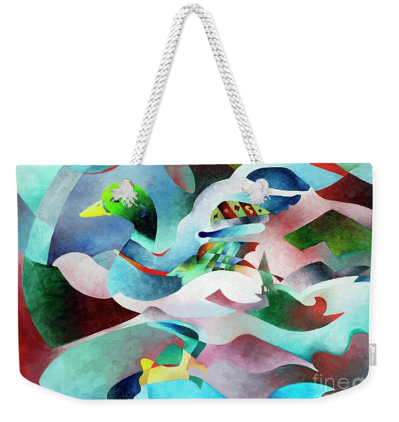 Duck Weekender Tote Bag featuring the painting Mallard by Sally Trace