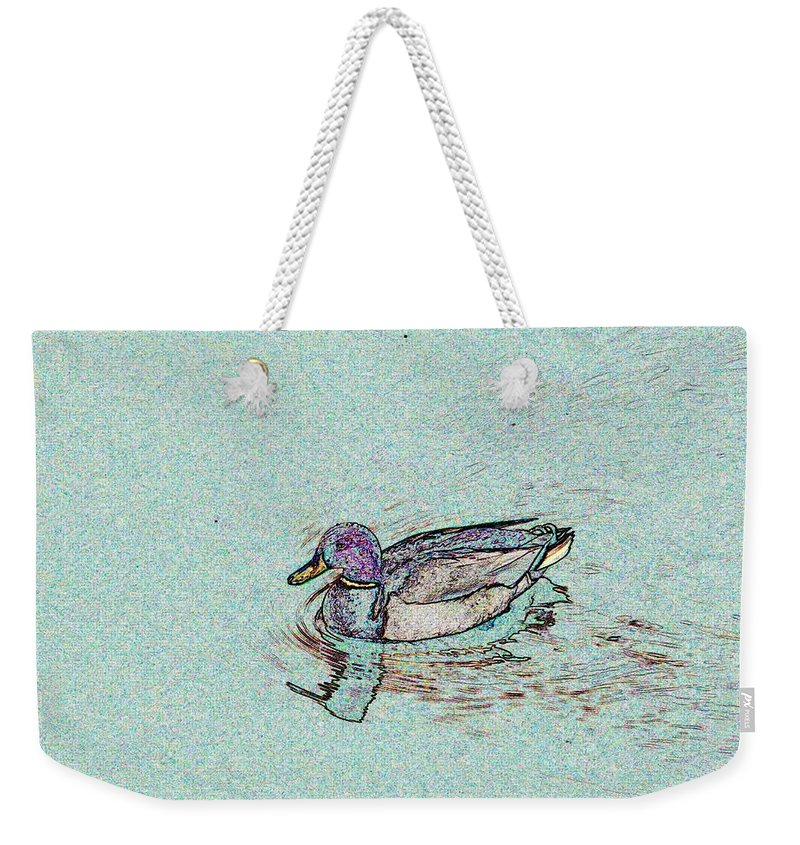 Mallard Weekender Tote Bag featuring the photograph Mallards Edge by Tim Allen