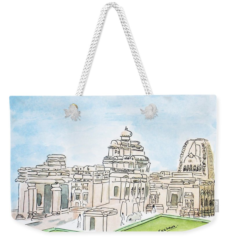 Mallikarjuna Weekender Tote Bag featuring the painting Mallikarjuna Swami Jyotirling by Keshava Shukla