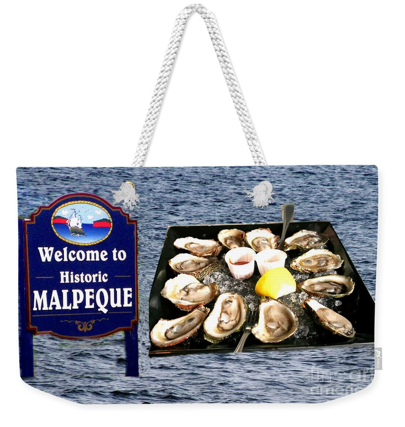 Malpeque Weekender Tote Bag featuring the photograph Malpeque Oyster Poster by Thomas Marchessault