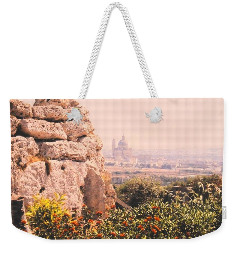 Malta Weekender Tote Bag featuring the photograph Malta Wall by Ian MacDonald