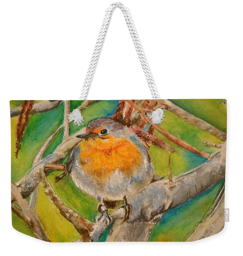 Malta Weekender Tote Bag featuring the painting Maltese Robin by Lisa Cini