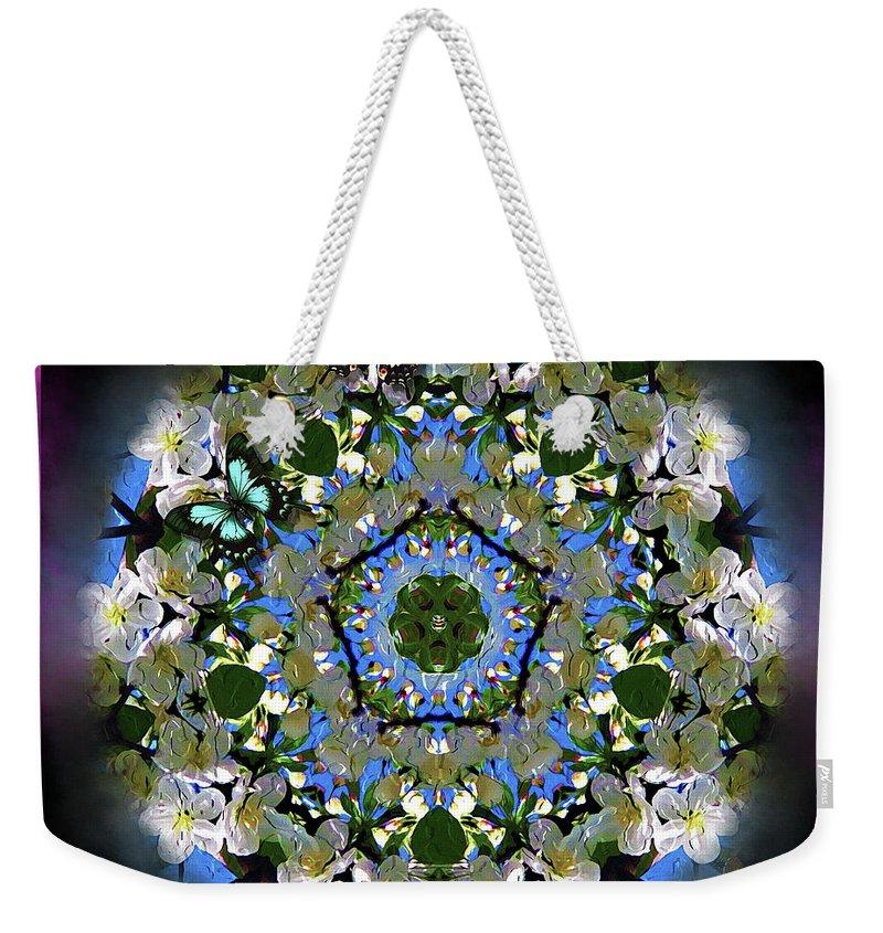 Digital Weekender Tote Bag featuring the digital art Malus Snowdrift by Kathryn Strick
