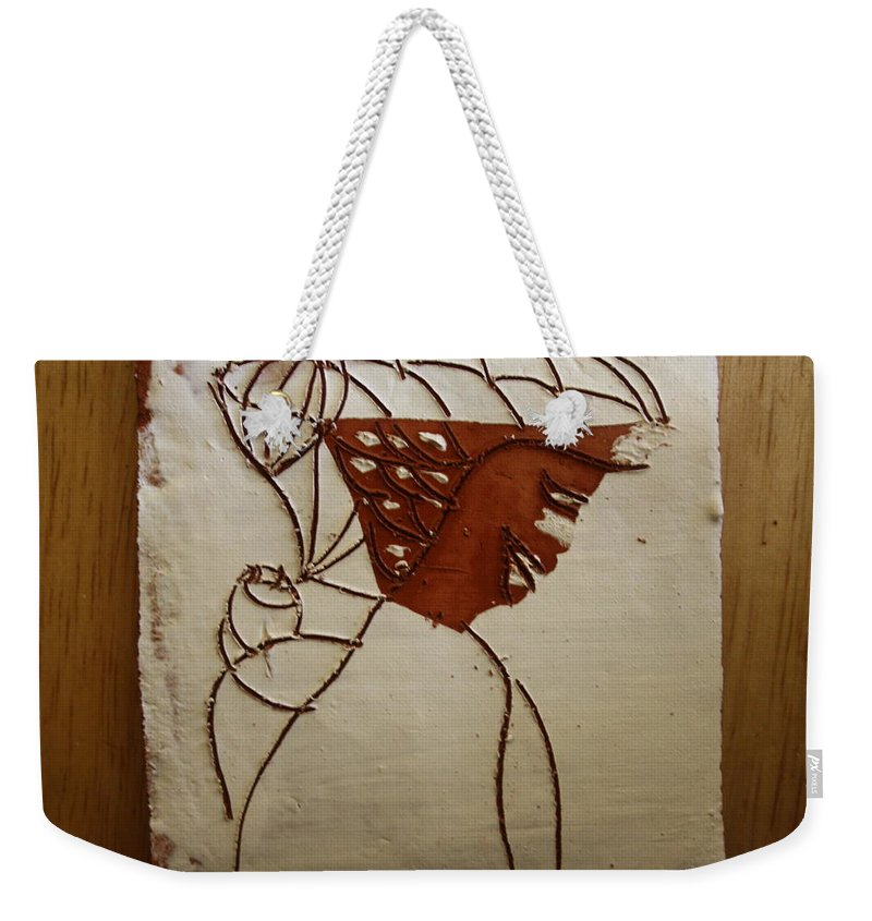 Jesus Weekender Tote Bag featuring the ceramic art Mama 7 - Tile by Gloria Ssali