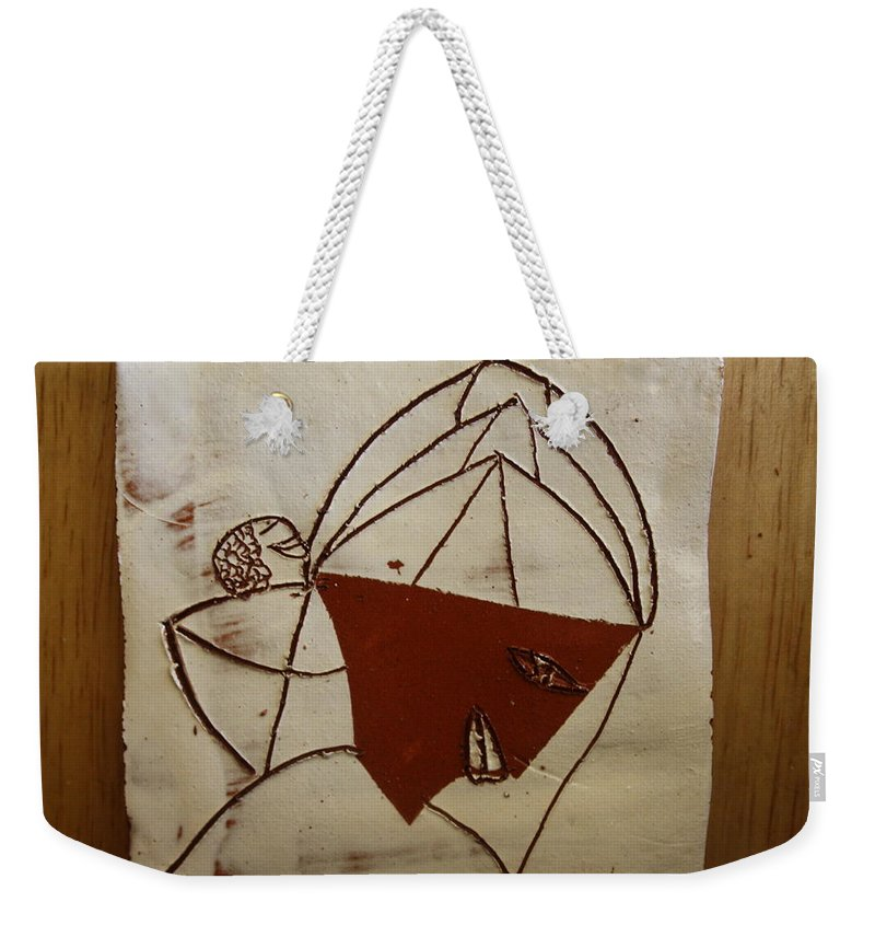 Jesus Weekender Tote Bag featuring the ceramic art Mama 8 - Tile by Gloria Ssali