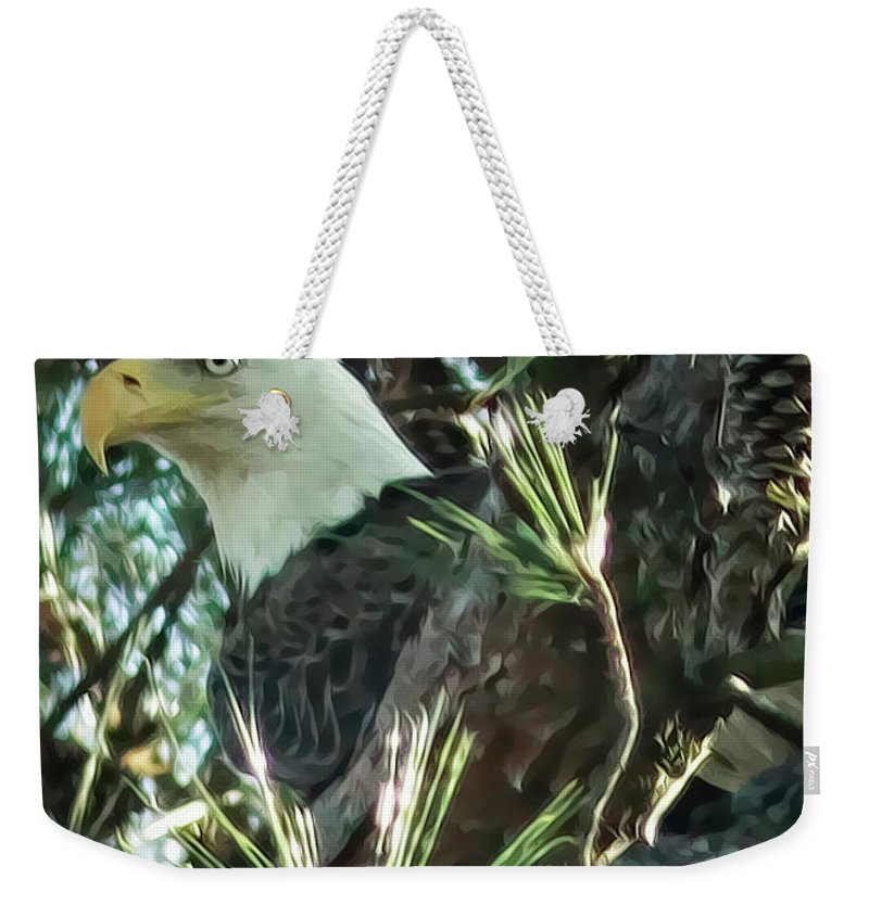 Bald Eagle Weekender Tote Bag featuring the digital art Mama Eagle by Phill Doherty