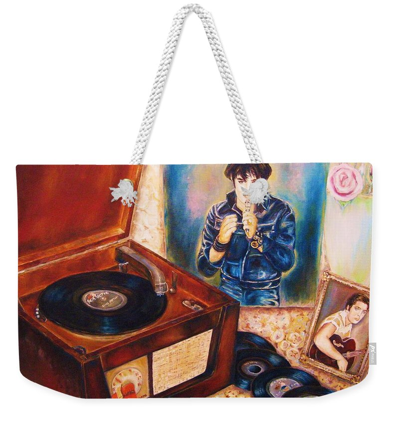 Elvis Weekender Tote Bag featuring the painting Mama Loved The Roses by Carole Spandau