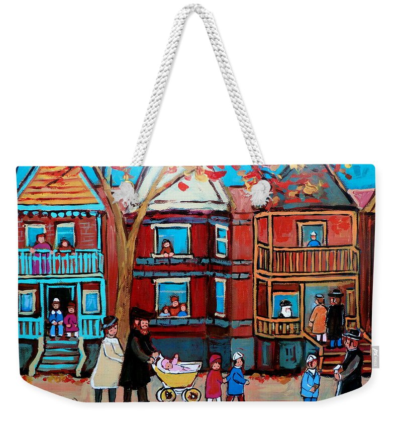 Hassidic Community Weekender Tote Bag featuring the painting Mama Papa And New Baby by Carole Spandau