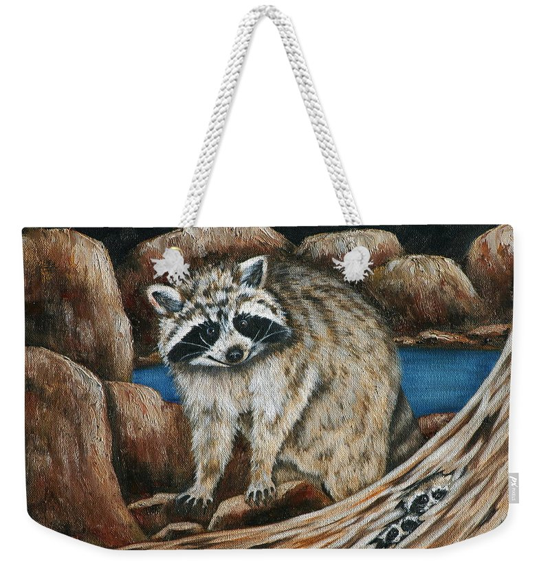 Racoon Weekender Tote Bag featuring the painting Mama Racoon by Ruth Bares