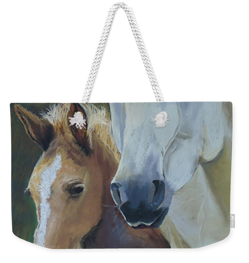 Horses Weekender Tote Bag featuring the painting Mama's Boy by Heather Coen