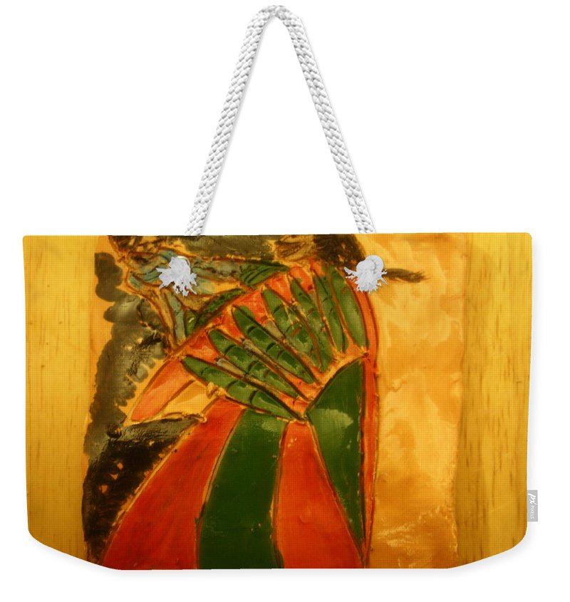 Jesus Weekender Tote Bag featuring the ceramic art Mama's Gal- Tile by Gloria Ssali