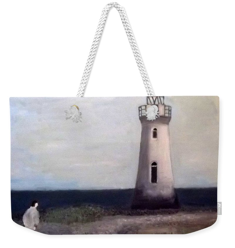 Lighthouse Weekender Tote Bag featuring the painting Man And Lighthouse by Peter Gartner