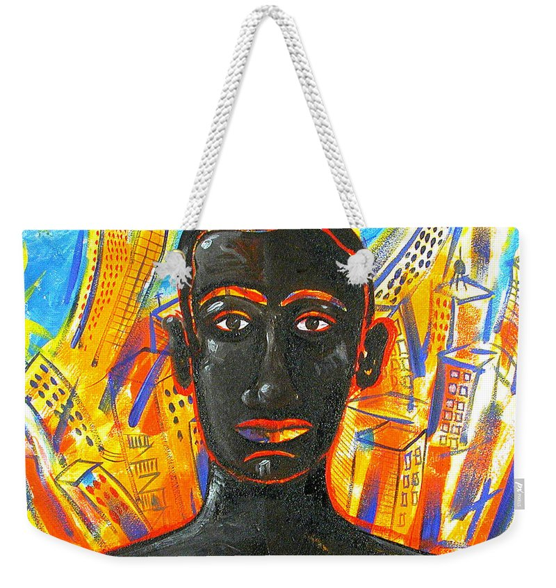 Man Weekender Tote Bag featuring the painting Man and The City by Rollin Kocsis
