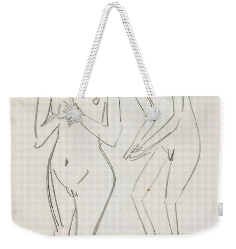 German Painters Weekender Tote Bag featuring the drawing Man And Woman by Ernst Ludwig Kirchner