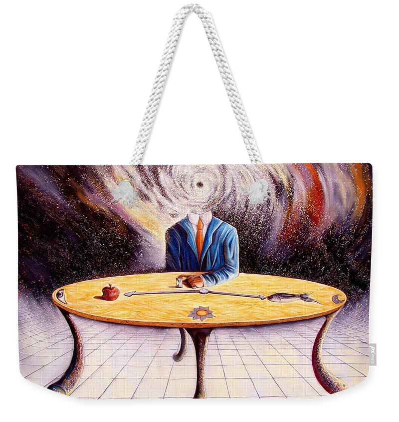 Surrealism Weekender Tote Bag featuring the painting Man Attempting To Comprehend His Place In The Universe by Darwin Leon