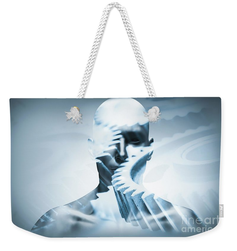 Face Weekender Tote Bag featuring the photograph Man Face With Mechanical Cogwheel Overlay. by Michal Bednarek