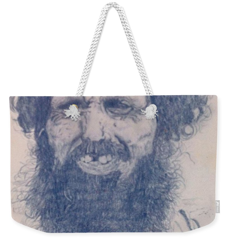 Pencil Portrait Weekender Tote Bag featuring the drawing Man From Madigascar by Ron Bissett