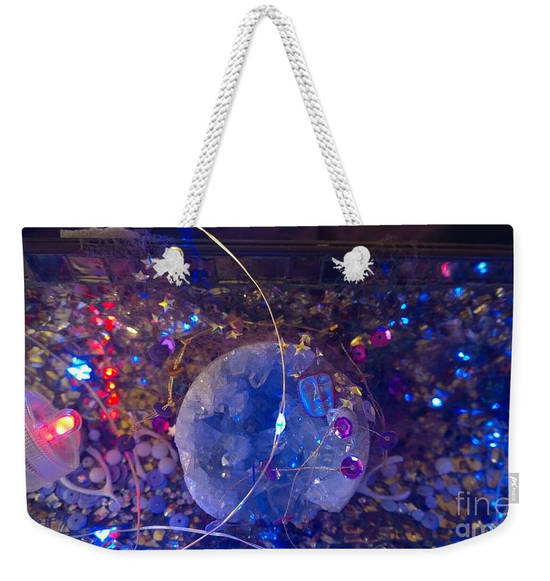 Weekender Tote Bag featuring the painting Man In The Moon - 2 by Judy Henninger