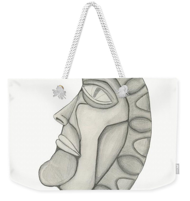 Moon Weekender Tote Bag featuring the drawing Man In The Moon by Sara Stevenson