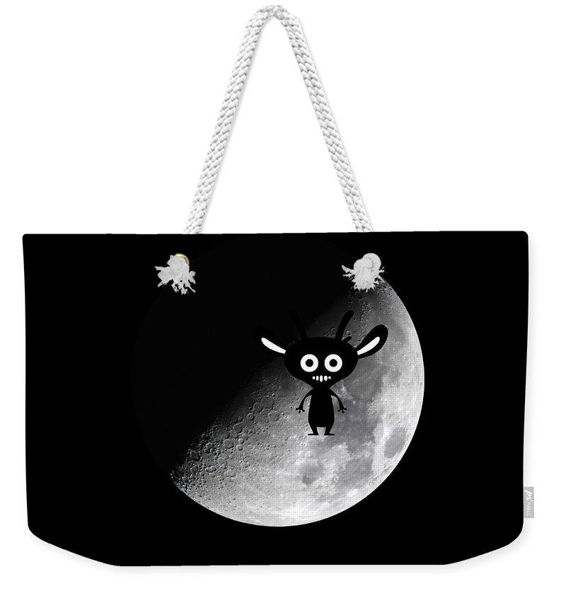 Alian Weekender Tote Bag featuring the digital art Man On Moon by Renee Pettersson