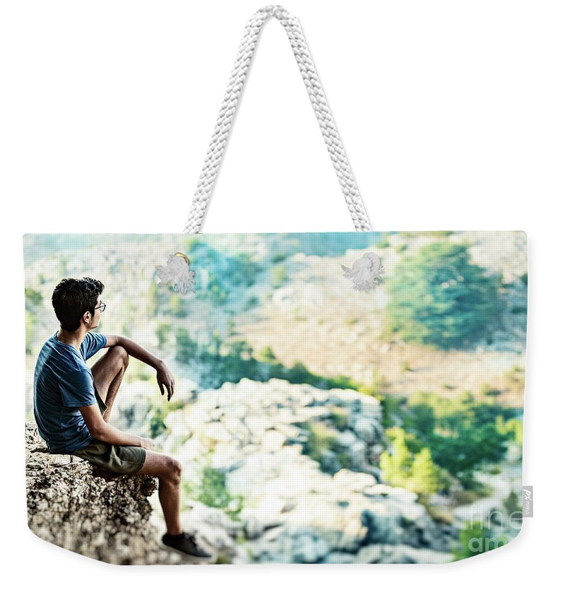 Active Weekender Tote Bag featuring the photograph Man On Top Of The World by Anna Om