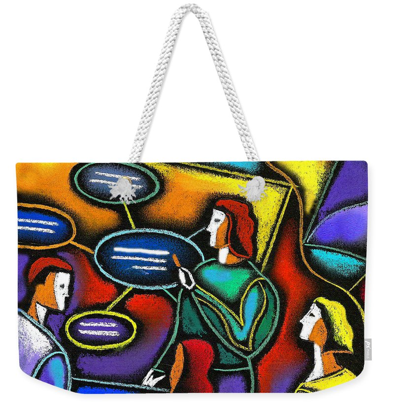 Businessman Businesswoman Career Career Path Caucasian Chart Co-worker Collaboration Colleague Color Color Image Communicating Communication Companion Concept Conference Conference Room Connecting Cooperate Cooperating Cooperation Coordinating Coordination Demonstrating Demonstration Design Diagram Displaying Drawing Educating Enterprise Executive Female Flow Chart Forecasting People Guidance Integration Job Job Skills Lead Leadership Leading Learning Male Man Manager Meeting Meeting Room Weekender Tote Bag featuring the painting Manager by Leon Zernitsky