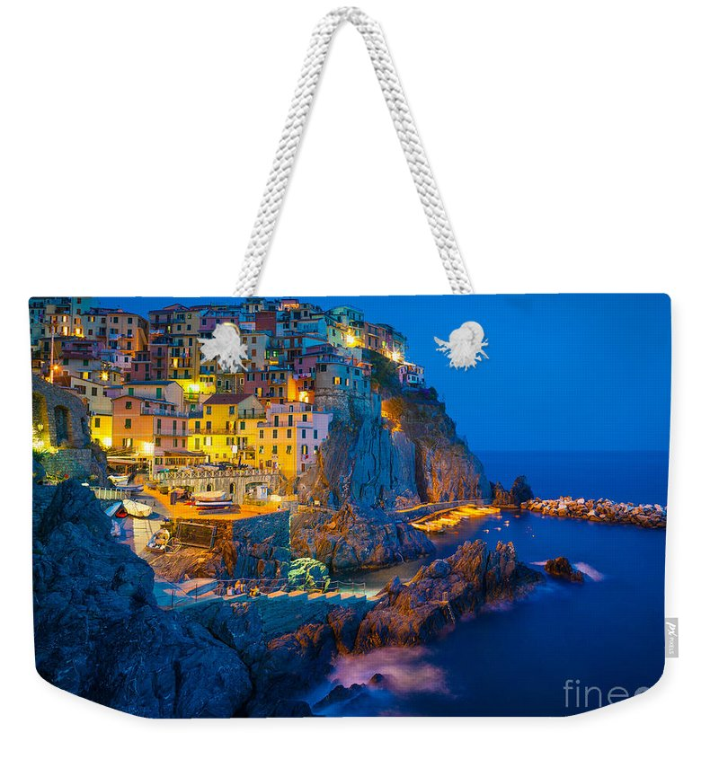 Cinque Terre Weekender Tote Bag featuring the photograph Manarola By Night by Inge Johnsson