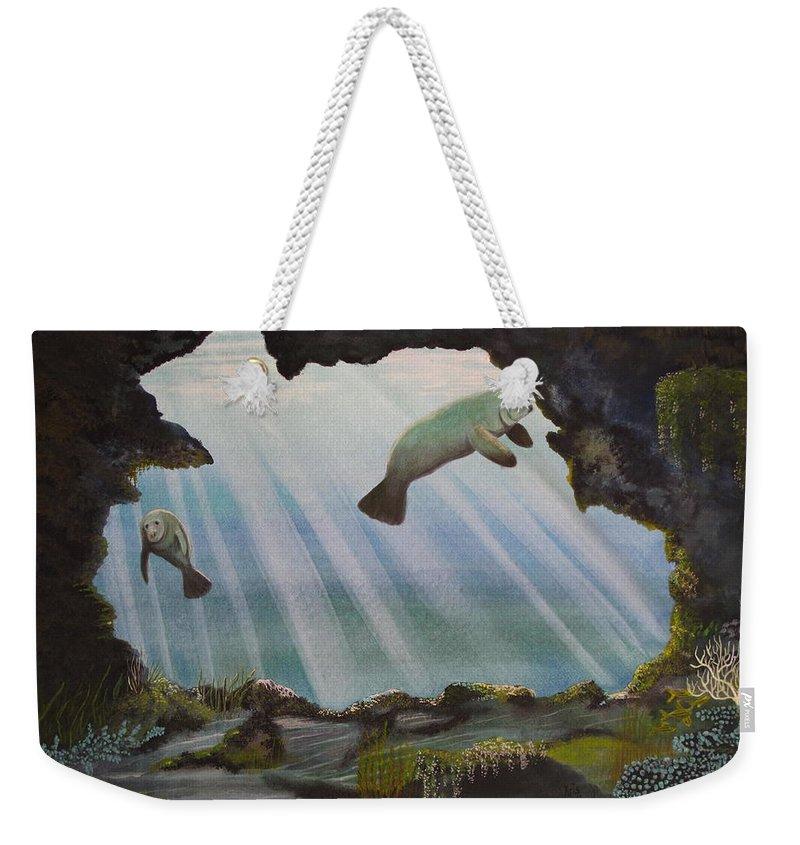 Manatee Weekender Tote Bag featuring the painting Manatee Cave by Kris Crollard