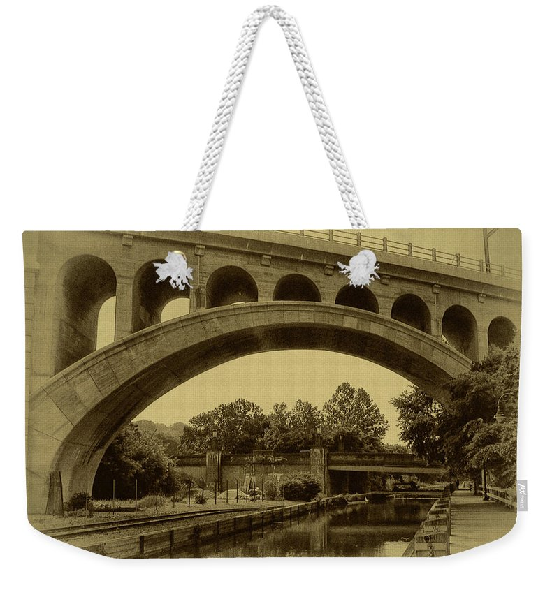 Manayunk Weekender Tote Bag featuring the photograph Manayunk Canal In Sepia by Bill Cannon