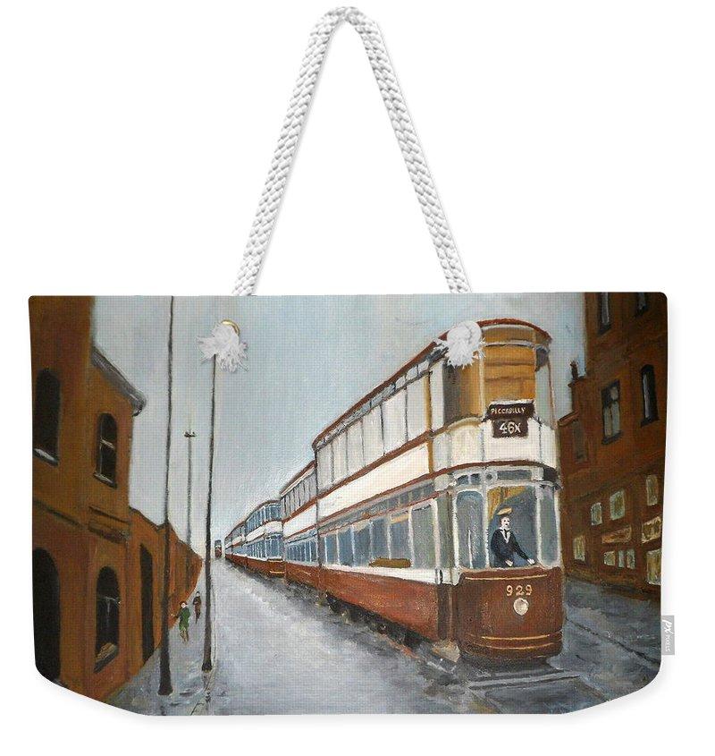 Manchester Piccadilly Tram Weekender Tote Bag featuring the painting Manchester Piccadilly Tram by Peter Gartner
