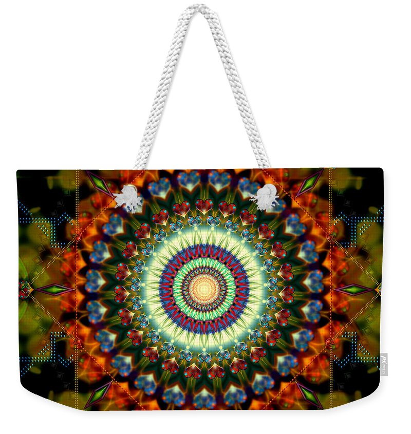 Mandala Weekender Tote Bag featuring the digital art Mandala Of Loves Journey by Stephen Lucas