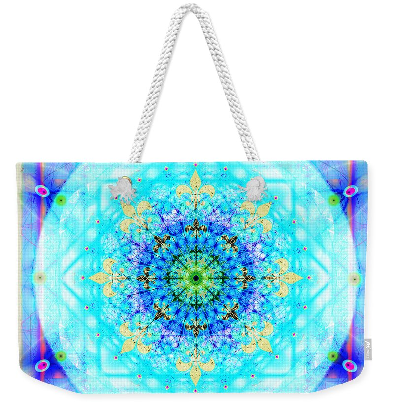 Mandala Weekender Tote Bag featuring the digital art Mandala Of Womans Spiritual Genesis by Stephen Lucas
