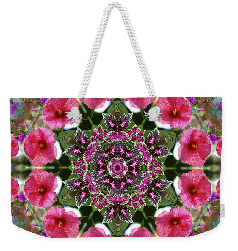 Mandala Weekender Tote Bag featuring the digital art Mandala Pink Patron by Nancy Griswold