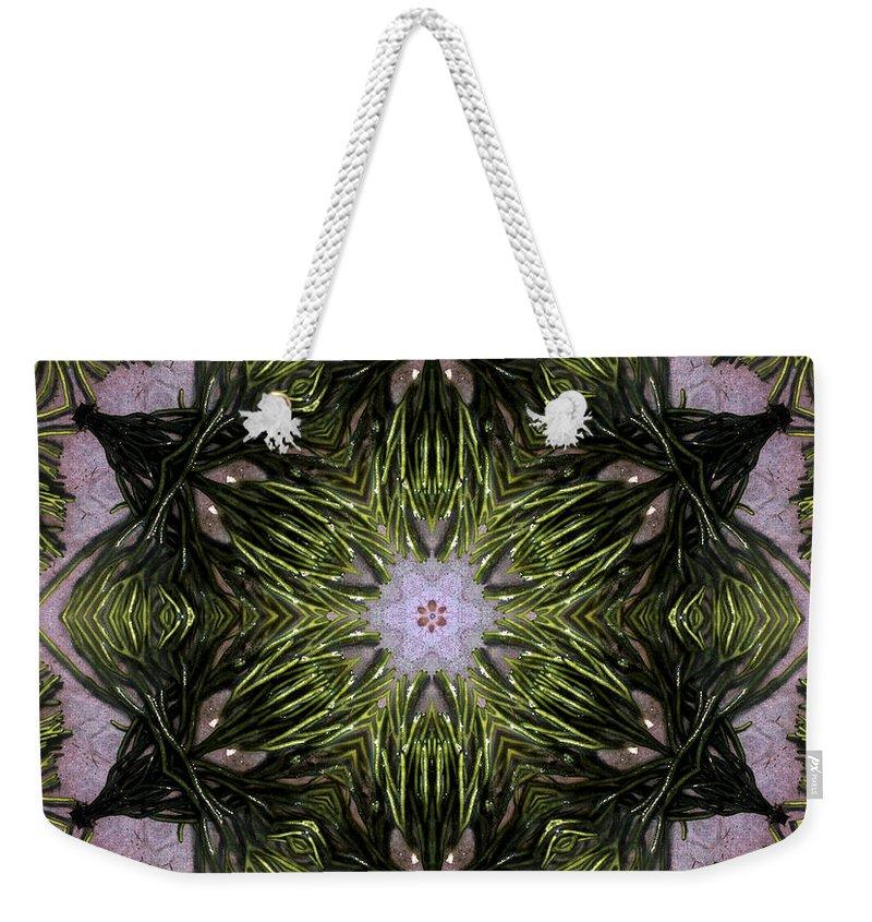 Mandala Weekender Tote Bag featuring the digital art Mandala Sea Sponge by Nancy Griswold